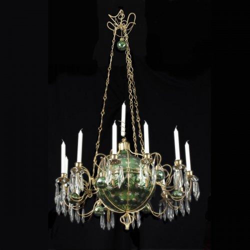 Crystal and ormolu chandelier
