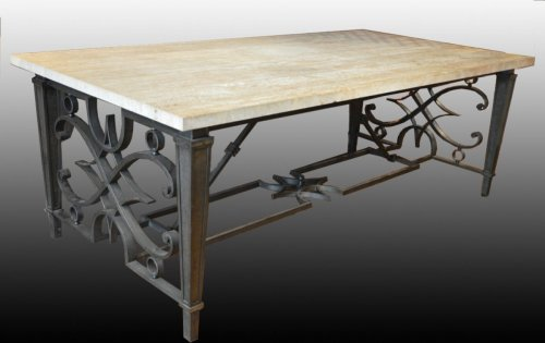 André Arbus - Large wrought iron table - Furniture Style 50