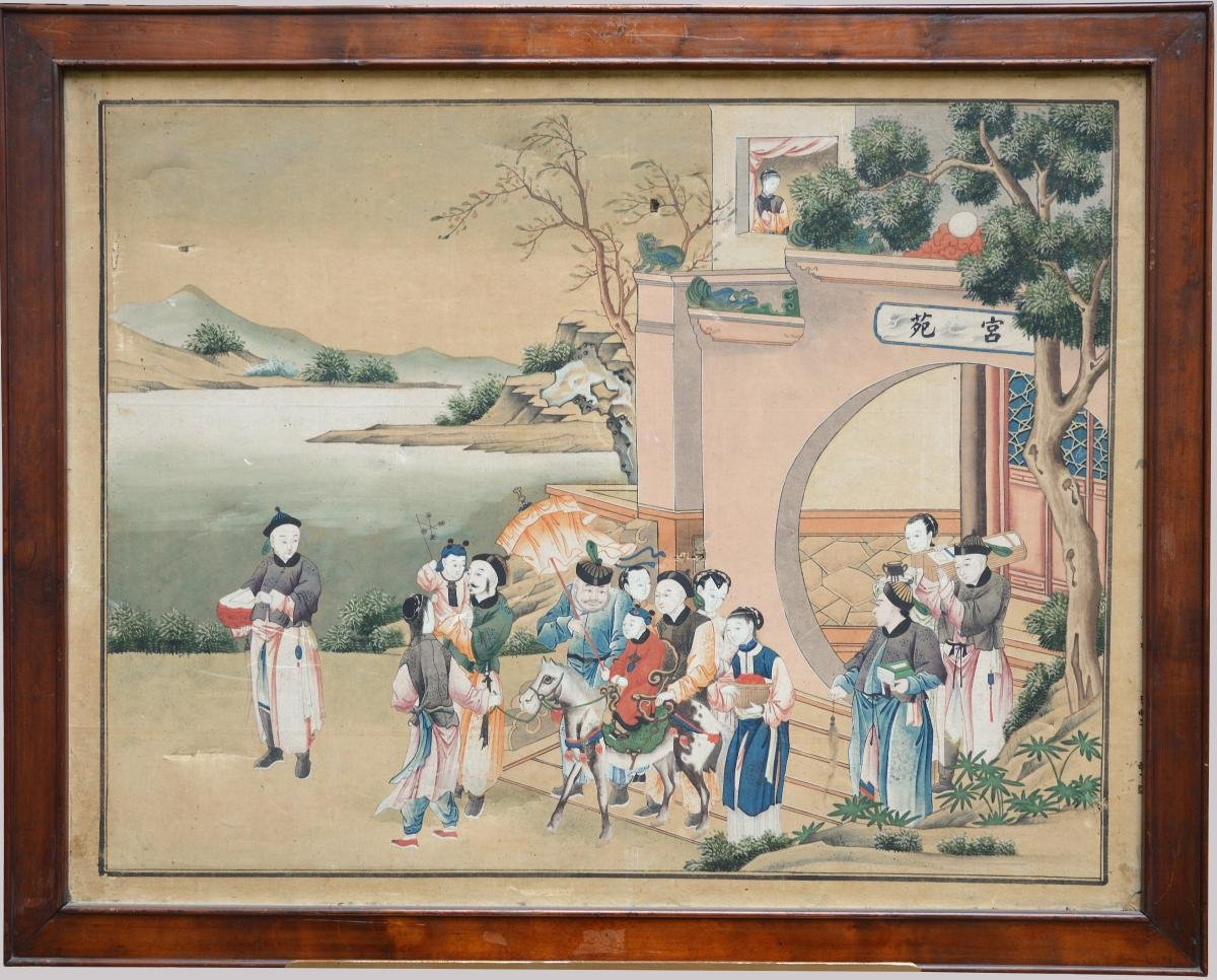 Seven Chinese Watercolors Late 18th Early 19th Century