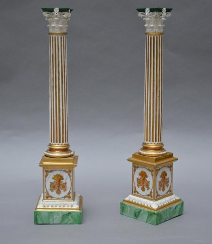 Pair Of Columns in Paris Porcelain  - Decorative Objects Style