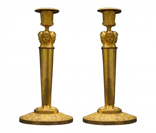 Attributed to CLAUDE GALLE A PAIR OF EMPIRE ORMOLU CANDLESTICKS