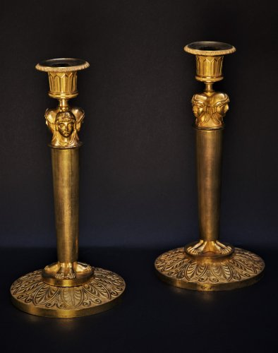 Pair of Empire candelstick Attributed to Claude Galle -
