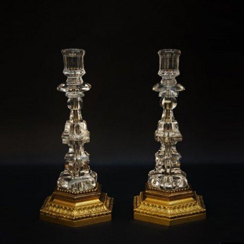 Pair of rock cristal candlesticks