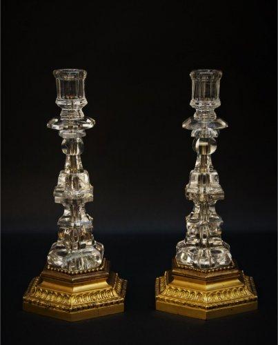 Pair of rock cristal candlesticks - Lighting Style Napoléon III