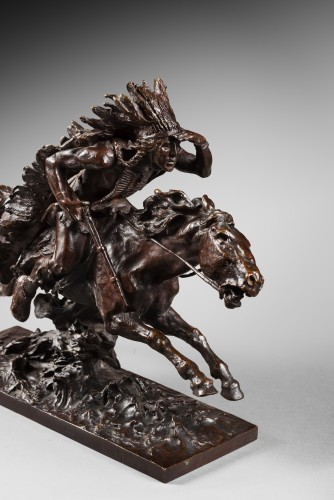 Sculpture  - Checa y Sanz Ulpiano (1860-1916) - Indian on his horse