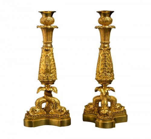 Pair of ormolu candlesticks circa 1820