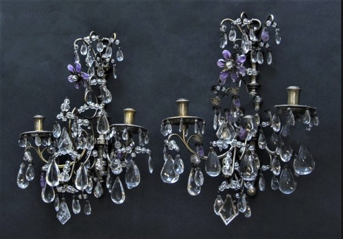 Pair of rock crystal wall lights - Lighting Style Napoléon III