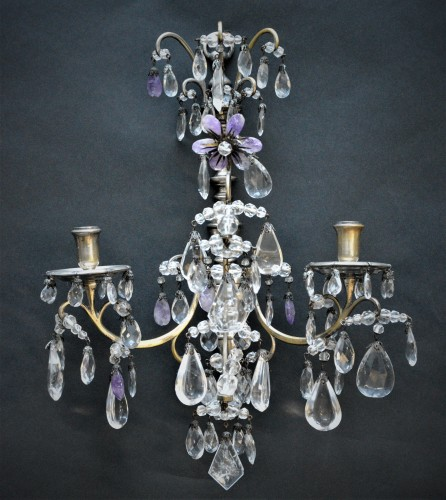 Lighting  - Pair of rock crystal wall lights
