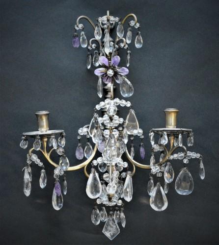 Lighting  - Pair of rock crystal wall lights