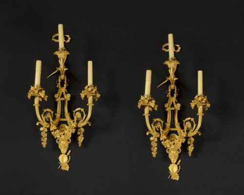 Alfred Beurdeley  Pair of wall lights -