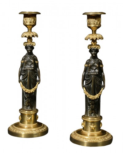 Pair of french Directoire candlesticks