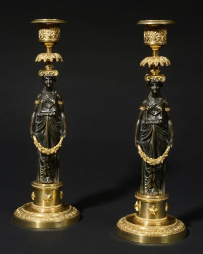 Pair of french Directoire candlesticks - Lighting Style Directoire