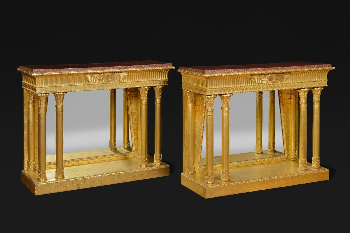 Egyptian Revival Pair Of Consoles   Furniture Style Napoléon III