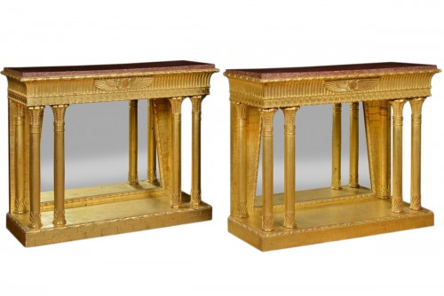 Egyptian revival pair of consoles