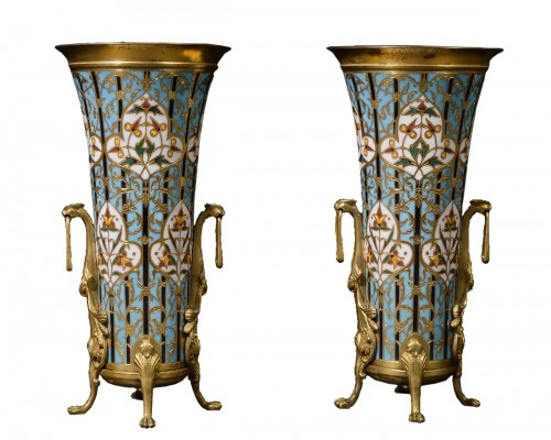 Pair of cloisonne vases Signed Barbedienne