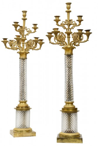 A fine and rare pair of Russian ormolu-mounted cut-glass large candelabra