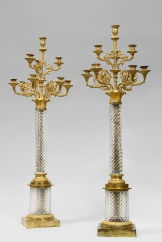 A fine and rare pair of Russian ormolu-mounted cut-glass large candelabra - Lighting Style Restauration - Charles X