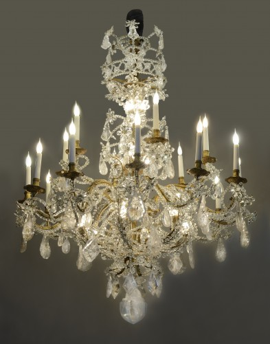 Genoese twelve light rock crystal chandelier