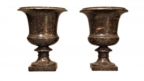 A pair of swedish porphyry marble campana vases