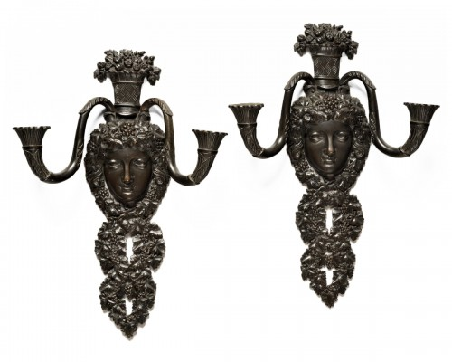Pair of restauration wall lights
