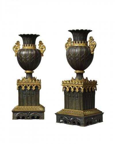 A pair neo gothic vases  circa 1830