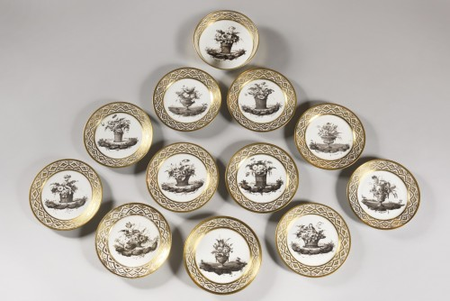 Dessert service in hard porcelain by J.B LOCRÉ late 18th century - Porcelain & Faience Style Louis XVI