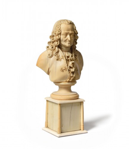Ivory bust of François-Marie Arouet known as Voltaire
