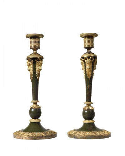Pair of Russian lacquered bronze candlesticks, 18th century