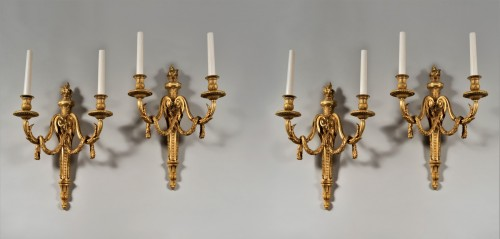 Two gilt bronze wall lamps, 19th century - Lighting Style