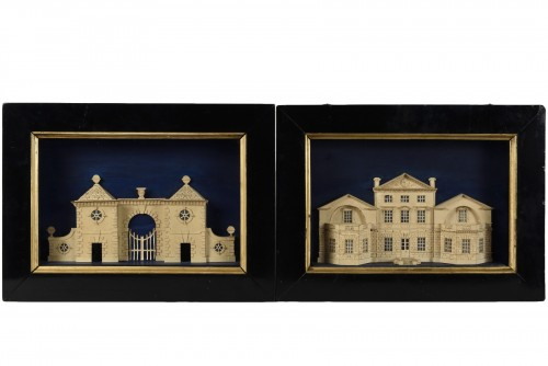 Pair of models représenting Stockeld Park House