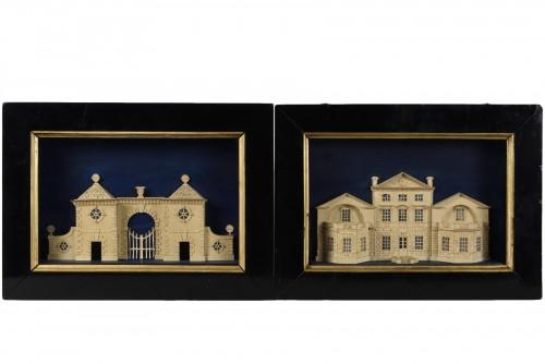 Pair of models représenting Stockeld Park House