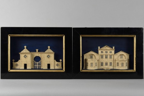 Pair of models représenting Stockeld Park House - Curiosities Style Restauration - Charles X