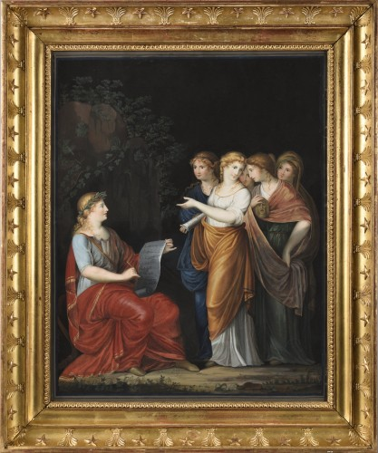 Apollon and the muses - Neoclassical gouache, end of the 18th early 19th century