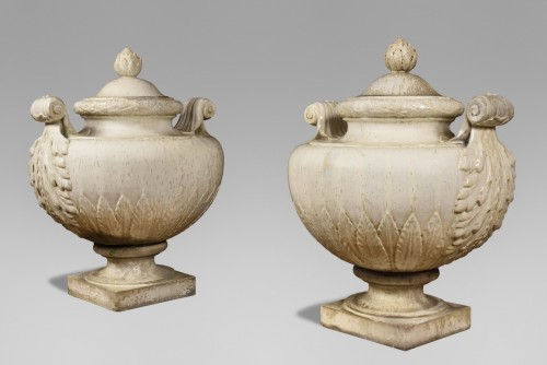 Emile MullerA pair of enamelled stoneware vases and covers, circa 1880  - Porcelain & Faience Style