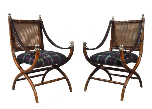 Pair of early 20th century colonial style armchairs