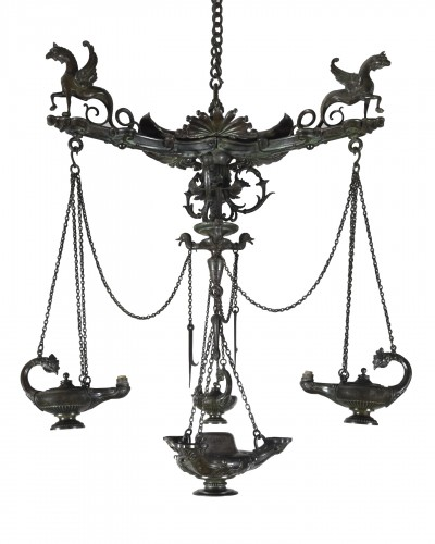 Pompeian chandelier, Chuirazzi foundry