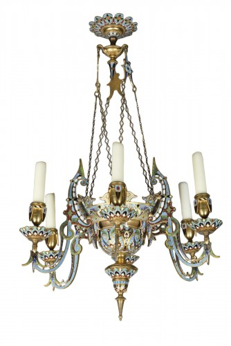 Gilt bronze and cloisonne enamels chandelier