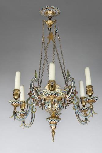 Gilt bronze and cloisonne enamels chandelier  - Lighting Style