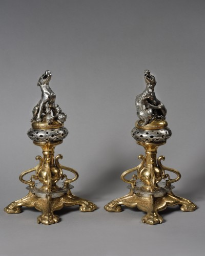 Adolphe-Victor Geoffroy-Dechaume (1816-1892) - Pair of andiron - Decorative Objects Style Napoléon III