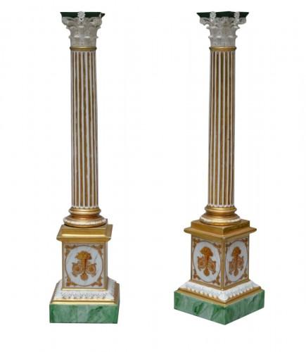 Pair of columns in Paris porcelain - 19th century