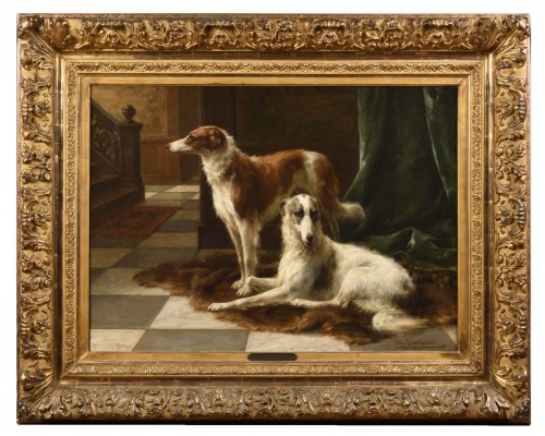 Two barzoïs - Otto Eerelman (1839 - 1926)
