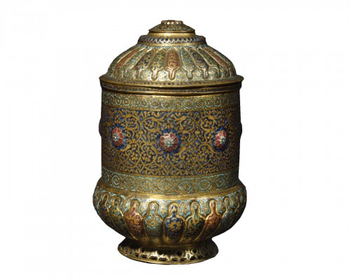 A Kashmir gilt bronze enamel box – 18th or 19th century