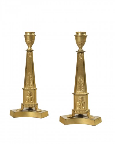 Pair of gilded pewter candlesticks– England beginning of the 19th century