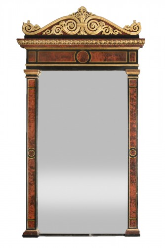 Wooden mirror painted in trompe l'oeil , Genoa 1820s-1830s