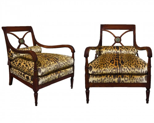Maurice Hirsch for the Maison Jansen Pair of Empire style armchairs
