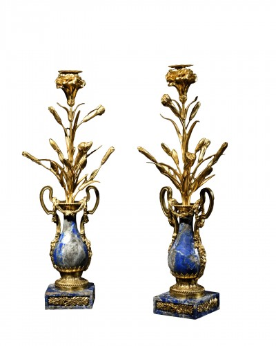 Pair of sodalite and ormolu cassolettes - 19th century
