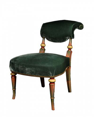 Polychrome wood and velvet chair - Late 19th century