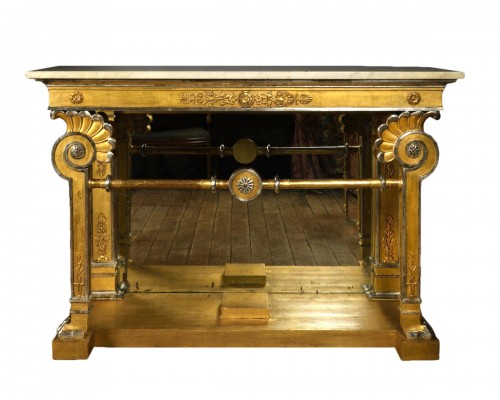 Gilded and silvered wood console first quarter of the 19th century
