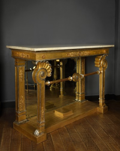 Gilded and silvered wood console first quarter of the 19th century - Furniture Style