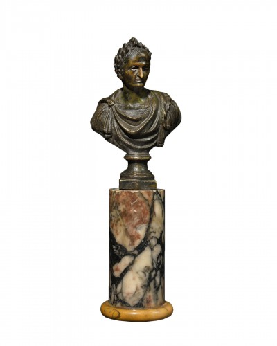 Bust Of Roman Emperor On A Marble Base - 18th Century